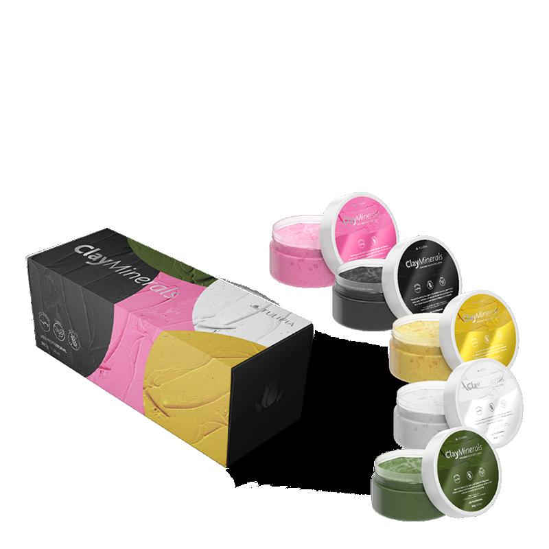 Kit Clay Minerals Argila Rosa, Preta, Verde, Branca e Amarela 4 dermocosméticos