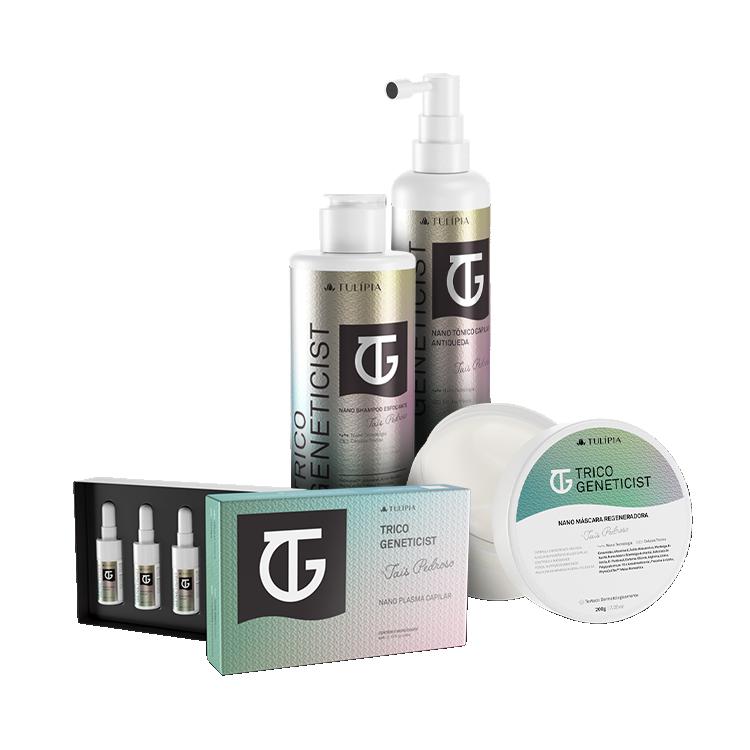 Dermocosméticos criados em parceria com a Taís Pedroso.  Esse kit contém:      TRICO GENETICIST TÔNI