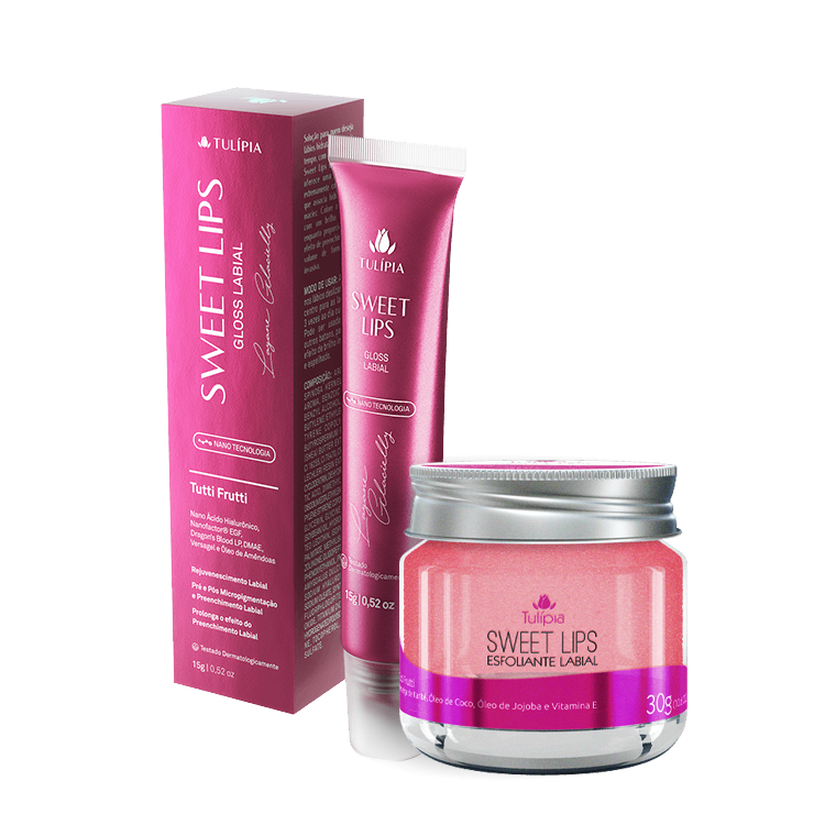 COMBO SWEET LIPS GLOSS + ESFOLIANTE LABIAL 2 produtos