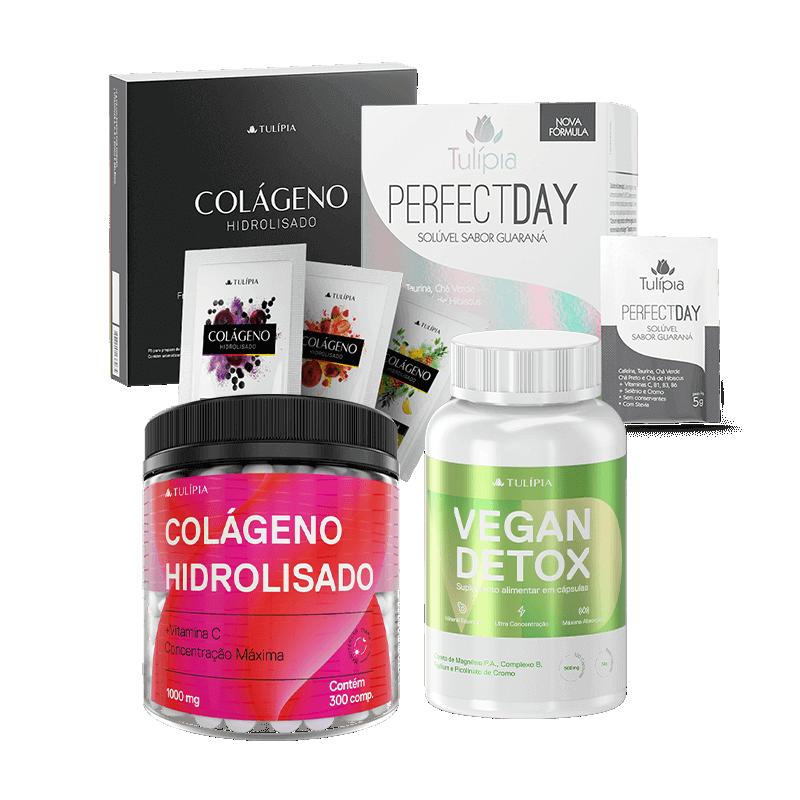 Kit Verão Nutricosméticos (Vegan Detox Suplemento Alimentar 500mg, Colágeno Hidrolisado 3 Sabores 30